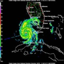 This radar image from the National Oceanic and Atmospheric Administration (NOAA) shows Tropical Storm Charley heading towards Florida\'s west coast