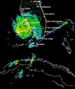 Hurricane Charley is seen in this NOAA Doppler weather radar image taken at 3:08 p.m. EDT, Friday, Aug. 13, 2004,